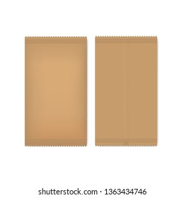 Vector brown paper package for seeds, sugar or spice. Mock up of realistic ecological pack for your design.
