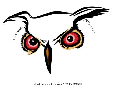 Vector brown silhouette of an owl on a white background.