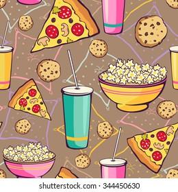 Vector Brown Slumber Party Food Seamless Pattern. Pizza. Drink. Cookie. Popcorn. Snack.