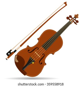 vector brown violin and bow with shadow