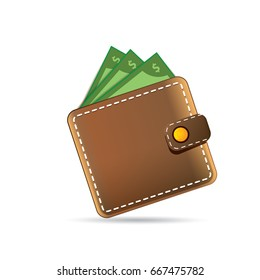 vector brown wallet with paper money icon isolated on white background. finance mobile app icon design template