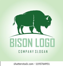 vector brown zubr buffalo bison  logo label