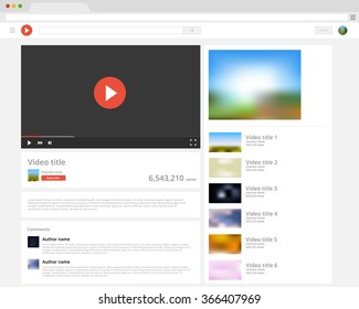Vector browser window with video player web site mock up. Music players mockup. Video screen template. Movie play layout mockup. Video vector design template.