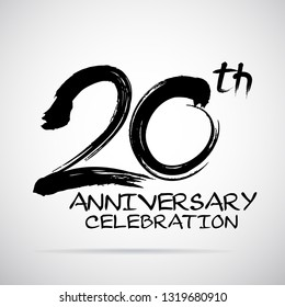 Vector Brush Calligraphy 20 years anniversary Sign Isolated on grey Background.