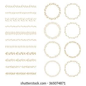 vector brush and laurel wreath set