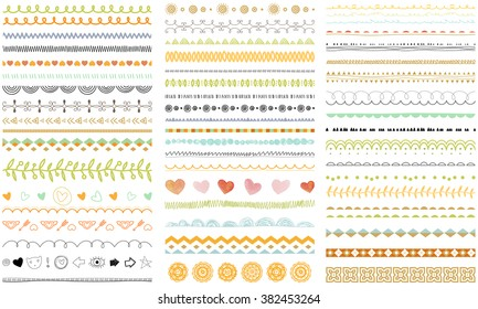 Vector brush lines and borders set. Hand drawn strokes collection. Seasonal ornaments. Doodle patterns. Decorative design elements.