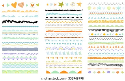 Vector brush lines. Hand drawn strokes collection. Doodle patterns. Borders set. Design elements.