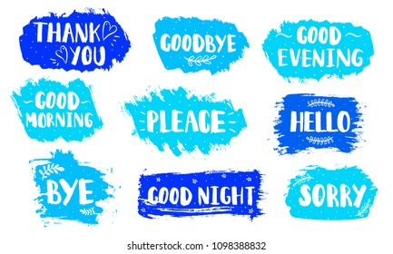 Vector brush stroke Boxes set. Painted strips, round, square. Text for different occasions everyday. Artistic label, badge. Blue elements on white background. Hand draw illustration.
