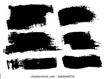 Vector Brush Stroke. Grunge Paint Stripes. Distressed Banner. Black Isolated Paintbrush Collection. Modern Textured Shapes. Dry Border in Black Color. Curved Dry Brush Stroke. Grunge Distress Texture.