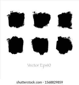 Vector brush stroke watercolor illustration.paint black background