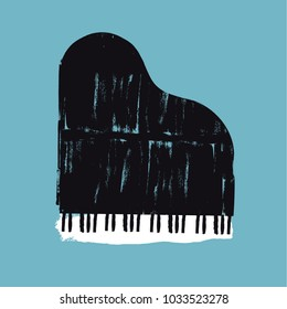 Vector brush stroked piano. Grunge design element for poster or other design