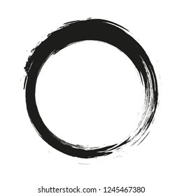 vector brush strokes circles of paint on white background. Ink hand drawn paint brush circle. Logo, label design element vector illustration. Black abstract grunge circle. Frame.
