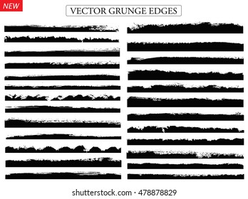 Vector brush strokes.Set of grunge edges.borders.
