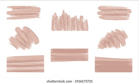 Vector brush strokes set. Smears and lines collection. Hand drawn illustration isolated on white background