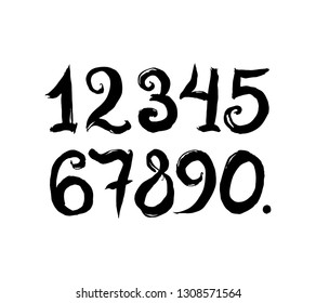 Vector Brush Style Hand Drawn Numbers. Calligraphy numbers on a white background.
