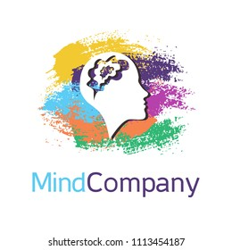 Vector brush symbol of human head. Profile face. ainbow color isolated on white background. Concept sign for business, science, psychology, medicine. Creative sign design Man silhouette. Modern logo.