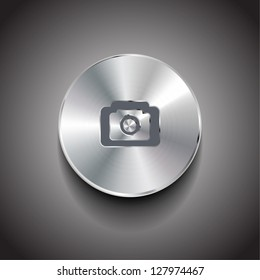 Vector brushed metal photo / picture round button