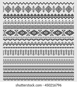 Vector brushes collection in boho style. Aztec style set of ornament borders for patterns, mandalas and frames. Pattern brushes are included in swatch panel.