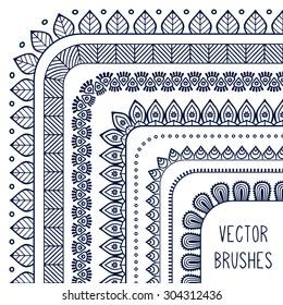 Vector brushes. Vintage decorative elements. Oriental pattern, vector illustration.  Islam, Arabic, Indian, turkish, pakistan, chinese, ottoman motifs