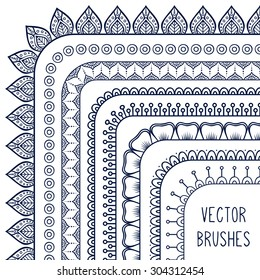 Vector brushes. Vintage decorative elements. Oriental pattern, vector illustration.  Islam, Arabic, Indian, turkish, pakistan, chinese, ottoman motifs