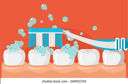 Vector brushing teeth flat illustration