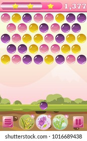 Vector bubble shooter game interface with background, score, stars, balls, icons, bonus flowers - mimosa, lilac and snowdrop