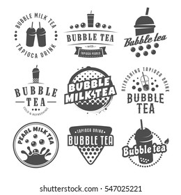 Vector bubble tea logos. Set of pearl tea labels. Popular asian drink badges.