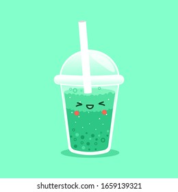 Vector Bubble Tea, tapioca milk tea. Pearl milk tea, Bubble Tea is Taiwanese famous and popular drink. Boba and small boba. Kawaii Character Boba. Cute Cartoon Sticker. Green with smile emoticon. Cute