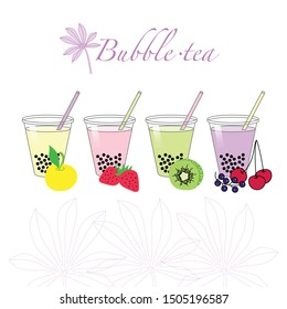 Vector. Bubble tea. Tapioca. Plant Manioc - leafing and root crops of the plant from which make Bubble tea. Tea can be made with the taste of different fruits.