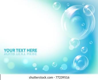 Vector bubbles against blue  wave background.