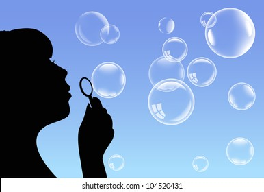 vector bubbles and girl
