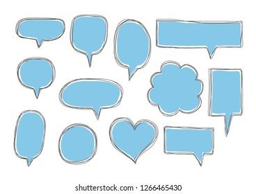 Vector bubbles speech doodle set. hand-drawn.