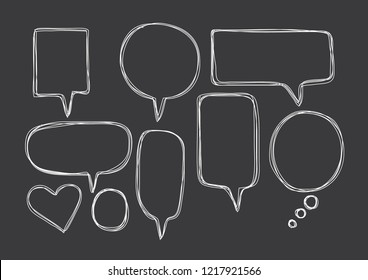 Vector bubbles speech set. hand-drawn.