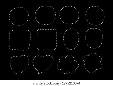 Vector bubbles speech set. hand-drawn. Illustration. Dashed lines.