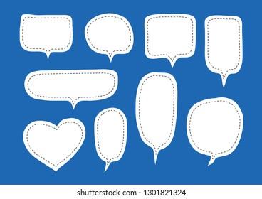 Vector bubbles speech set. hand-drawn.
