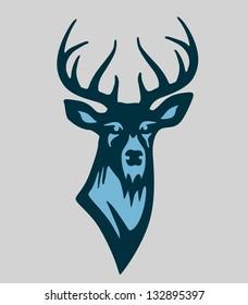 Vector buck deer illustration mascot in blue