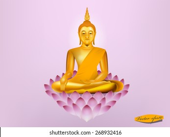vector of buddha sitting on lotus,buddha design
