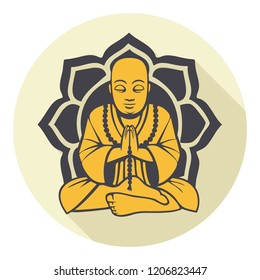 Vector Buddhism icon meditating Buddha. Golden Buddha sitting on a lotus background. Illustration in flat style.