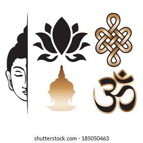 Vector buddhism sign elements - set