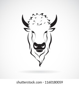 Vector of a buffalo bison head design on white background. Wild Animals. Easy editable layered vector illustration.