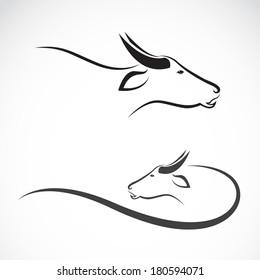 Vector of buffalo head design on white background. Animal. Easy editable layered vector illustration.