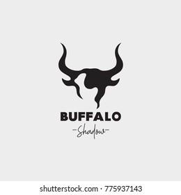 Vector of buffalo head shadow logo