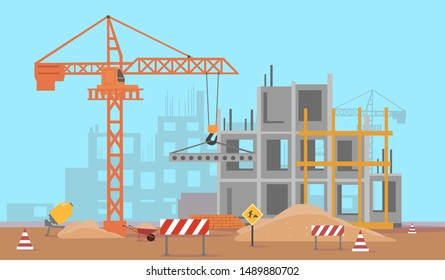 Vector of a building construction site of a high rise complex