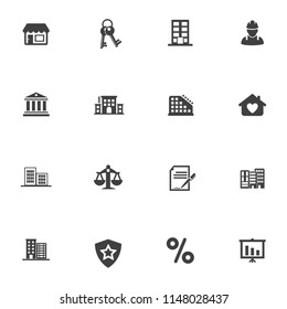 vector building icons set - office city structure illustrations - residential house, real estate icons