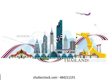 vector Building landmark of Bangkok Thailand background, Bangkok city, Mahanakorn tower