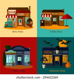 vector buildings concept flat set (four small compositions of different shops ideal for your design)