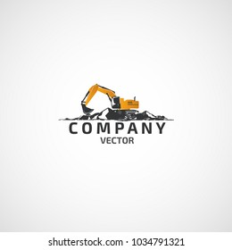 Vector buildings excavator logo.