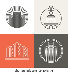 Vector buildings and houses logos and signs - design elements in trendy mono line style