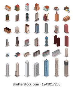 Vector buildings Isometric low poly city buildings