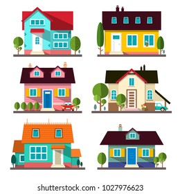 Vector Buildings Set. Flat Design Houses Isolated on White Background.